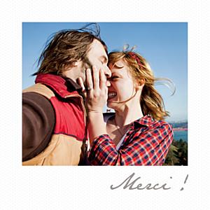 Carte de remerciement mariage Petit polaroid blanc