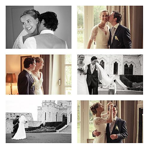 Carte de remerciement mariage Simple 6 photos blanc