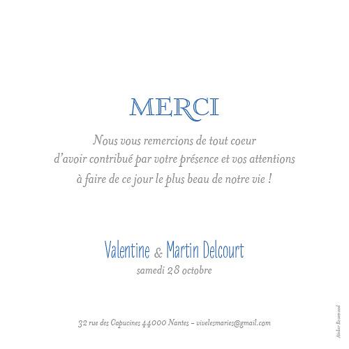 carte de remerciement mariage simple 6 photos blanc - Texte Carte De Remerciement Mariage