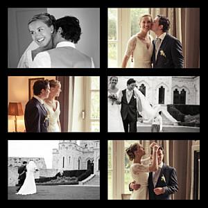 Carte de remerciement mariage noir simple 6 photos noir
