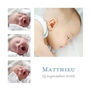 Faire-part de naissance Classique 9 photos blanc