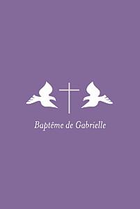 Faire-part de baptême Croix & colombes violet