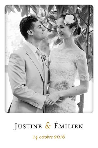 Carte de remerciement mariage Simplement merci (petit format) blanc