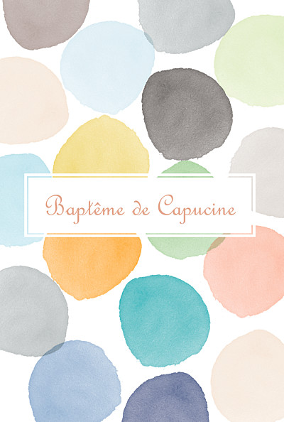 Menu de baptême Aquarelle orange finition