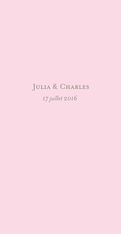 Menu de mariage Chic (panoramique) rose pâle finition
