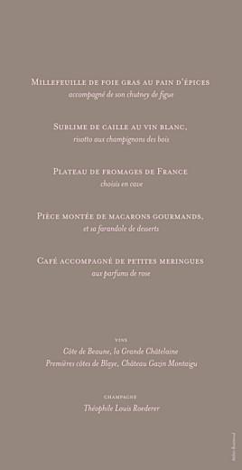 Menu de mariage Chic (panoramique) rose pâle - Page 2