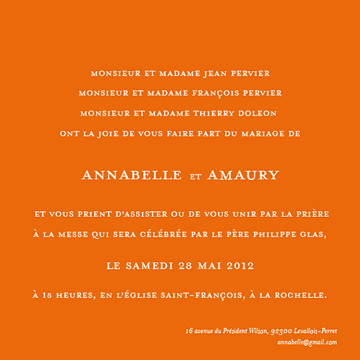 Faire-part de mariage Chic-orange - Page 1