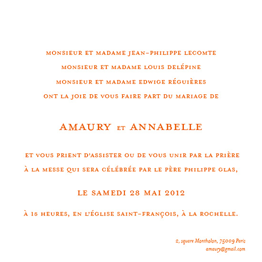 Faire-part de mariage Chic-orange - Page 2