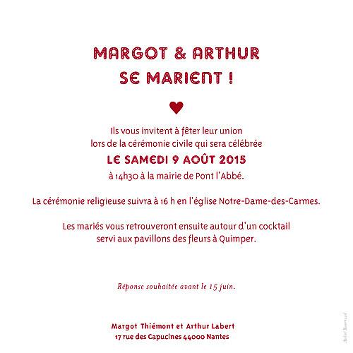 Faire-part de mariage Amour grand rv rouge - Page 2