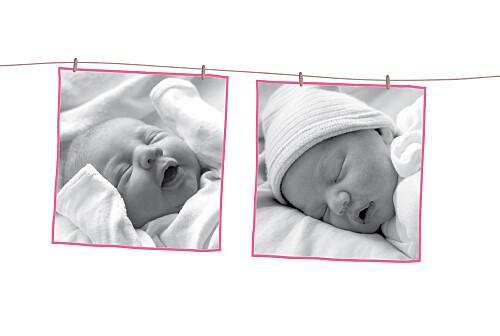 Faire-part de naissance Fil à linge liberty 2 photos framboise