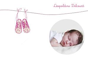 Carte de remerciement fil à linge petites chaussures rose