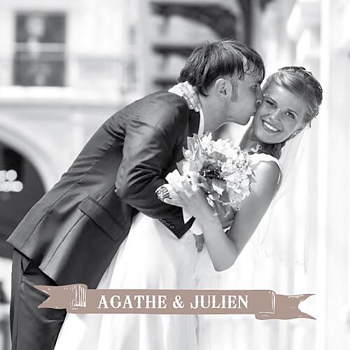 Carte de remerciement mariage O joy taupe