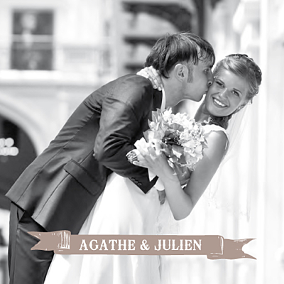 Carte de remerciement mariage O joy taupe finition