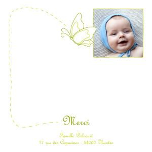 Carte de remerciement Petit origami papillon vert