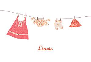 Faire-part de naissance rouge fil à linge liberty photo rv fraise