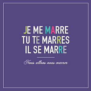 Faire-part de mariage Marrons-nous (4 pages) violet