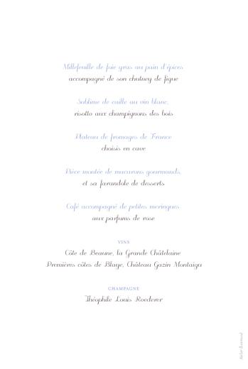 Menu de mariage Oiseaux bleu