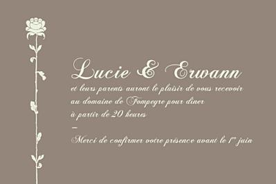 Carton d'invitation mariage Fleur de lotus plan cim vert taupe finition