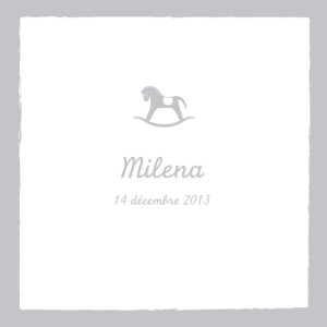 Faire-part de naissance Cheval 4 pages médaillon gris