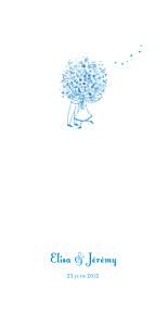 Menu de mariage Bouquet (panoramique) bleu