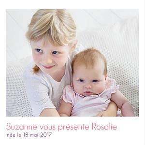 Faire-part de naissance petit frère ou petite soeur simple 2 photos blanc