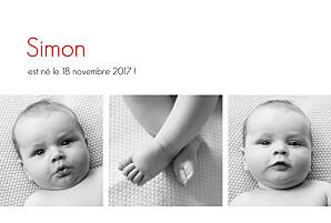 Faire-part de naissance noir et blanc contemporain 3 photos blanc