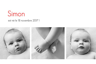 Faire-part de naissance Contemporain 3 photos blanc finition