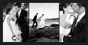 Carte de remerciement mariage noir 3 photos (panoramique) noir
