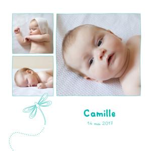 Faire-part de naissance Libellule 3 photos bleu vert