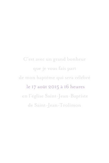 Faire-part de baptême Petite église 4 pages violet gris