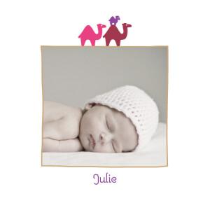 Faire-part de naissance 3 dromadaires photo violet