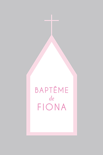 Faire-part de baptême Petite église 4 pages rose gris