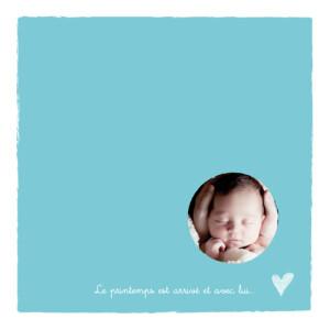 Faire-part de naissance Petite photo cœur garçon turquoise