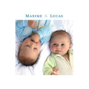 Faire-part de naissance Jumeaux classique bleu
