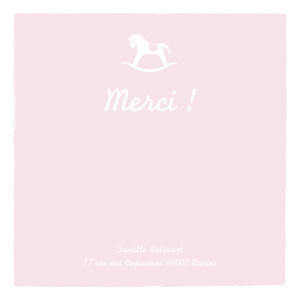 Carte de remerciement Merci petit cheval rose pâle