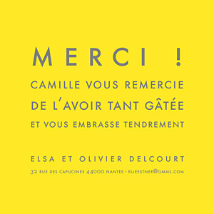 Carte de remerciement Mini the photo justifié citron