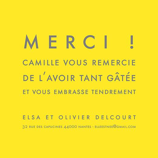 Carte de remerciement Mini the photo justifié citron