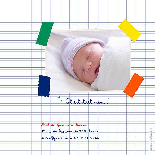 Faire-part de naissance Cahier d'écolier 1 photo blanc
