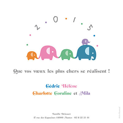 Carte de voeux Les éléphants de 2015 multicolore finition