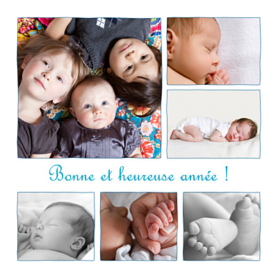 Carte de voeux 6 photos bleu finition