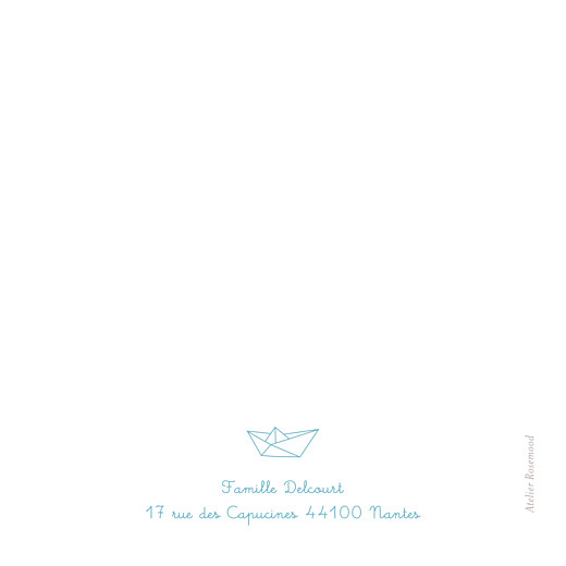 Carte de remerciement Petit origami bateau bleu