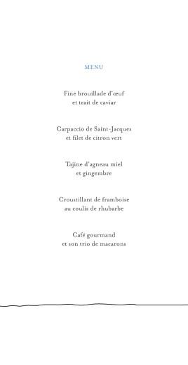 Menu de mariage Promesse (4 pages) blanc