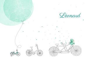 Faire-part de naissance my lovely thing  à bicyclette (2 enfants) photos vert