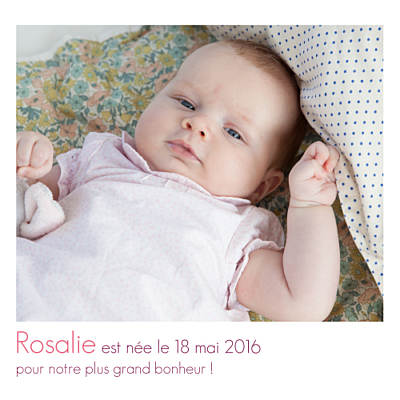 Faire-part de naissance Bilingue simple 2 photos blanc finition