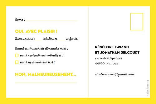Carton réponse mariage Un grand oui ! jaune - Page 2