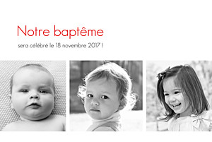 Faire-part de baptême jumeaux contemporain 3 photos blanc