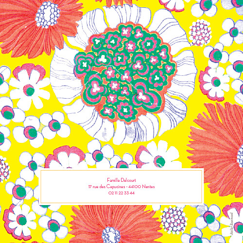 Faire-part de baptême Flower power corail