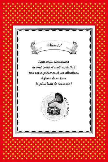 Carte de remerciement mariage Festival rouge