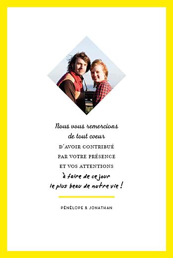 Carte de remerciement mariage Un grand oui ! (recto seul) jaune