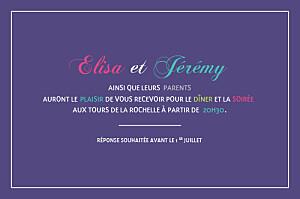 Carton d'invitation mariage Marrons-nous violet